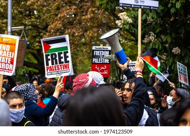 London, UK - May 15 2021: Israel-Gaza conflict - London protesters take to the streets in support of Palestine, UK