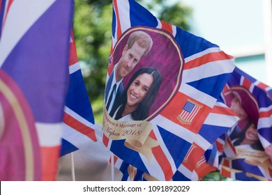 LONDON, UK - MAY 15th 2018: Union jack flag wedding merchandise celebrating the Royal wedding of Prince Harry and Meghan markle.