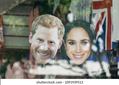 LONDON, UK - MAY 15th 2018: Royal wedding mask souvenirs of Prince Harry and Meghan Markle on sale in London days before the Royal wedding