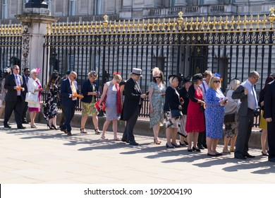 LONDON, UK - MAY 15th 2018: Guests arrive for the first Queens garden party of the season at Buckingham Palace