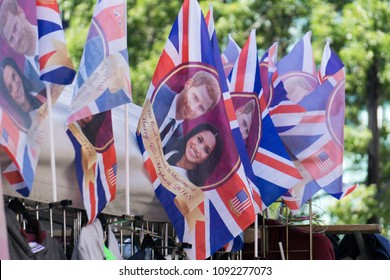 LONDON, UK - MAY 15th 2018: Union jack flag with Prince Harry and Meghan Markle on to celebrate the Royal Wedding.