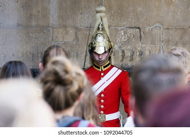 LONDON, UK - MAY 15th 2018:Traditional household cavalry guard in full uniform outside Hourse Guards Parade in Whitehall