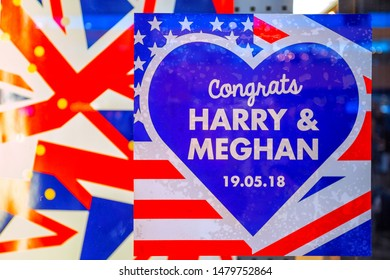 London, UK - May 16 2018: The merging of the UK and the US flags celebrates the Royal Wedding of Prince Harry and Meghan Markle decorated at a shop in  Euston Station