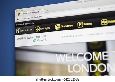 LONDON, UK - MAY 17TH 2017: The homepage for the official website of London Gatwick Airport, on 17th May 2017.