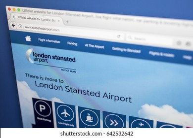 LONDON, UK - MAY 17TH 2017: The homepage for the official website of London Stansted Airport, on 17th May 2017.