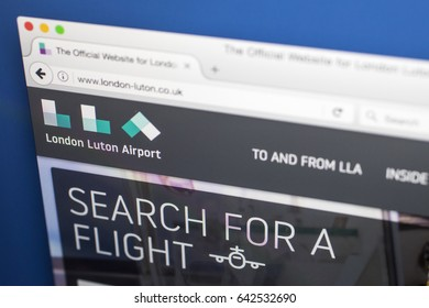 LONDON, UK - MAY 17TH 2017: The homepage for the official website of London Luton Airport, on 17th May 2017.