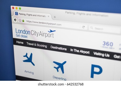 LONDON, UK - MAY 17TH 2017: The homepage for the official website of London City Airport, on 17th May 2017.