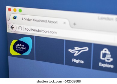 LONDON, UK - MAY 17TH 2017: The homepage for the official website of London Southend Airport, on 17th May 2017.