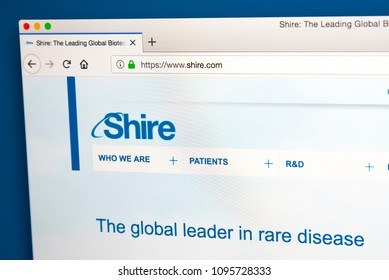 LONDON, UK - MAY 17TH 2018: The homepage of the official Website for Shire Plc - the global biopharmaceutical company, on 17th May 2018.