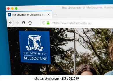 LONDON, UK - MAY 17TH 2018: The homepage of the official website for the University of Melbourne - a public research university located in Melbourne, Australia, on 17th May 2018.