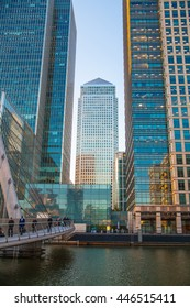 London, UK - May 18, 2015: Canada Tower of Canary Wharf at sunset, international business and banking aria