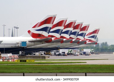 LONDON, UK - MAY 19, 2012: Fleet of Boeings 747 of British Airways standing on the apron of London Heathrow airport.