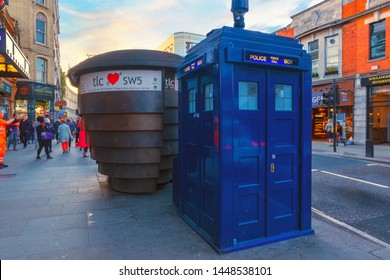 London, UK - May 19 2018: A blue police box is a public telephone kiosk or callbox for the use of members of the police, the box located at earl's Court station