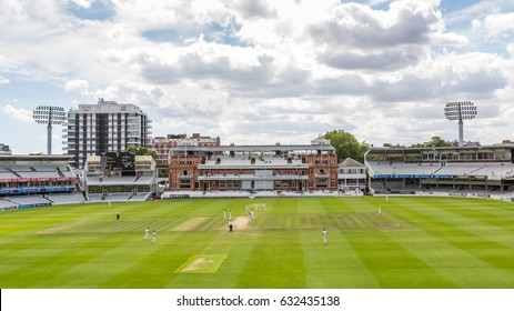 LONDON, UK - MAY 2, 2017: The Victorian-era Pavilion at Lord's Cricket Ground in London, England. It is referred to as the home of cricket and is home to the world's oldest cricket museum.