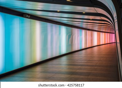London, UK - May 20, 2016 - King's Cross futuristic looking tunnel, the 90 meters long curved pedestrian tunnel features an LED integrated lightwall