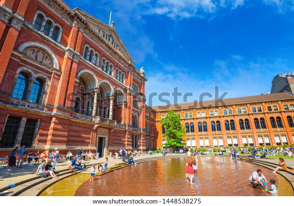 London, UK - May 20 2018:  Victoria and Albert Museum  founded in 1852, it's the world's largest museum of applied and decorative arts and design houses permanent collection over 2.27 million items