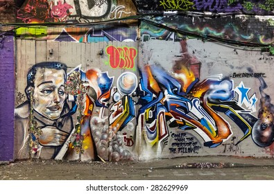 LONDON, UK / May 2015 - Amazing detailed graffiti seen on Leake Street public gallery