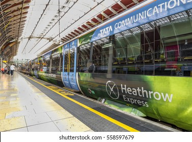 LONDON, THE UK - MAY 2016: modern trains at Paddington railway station