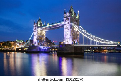 LONDON, UK - MAY, 2016: tower bridge at night, London, UK