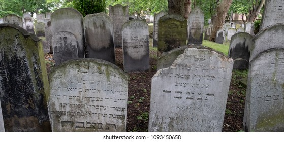 London UK, May 2018. Close up photo of tombstones at the historic Jewish cemetery at Brady Street, Whitechapel, East London.