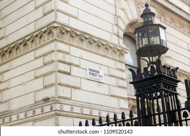 London, UK - May 2018: Downing Street sign in Westminster, this famous street houses the official residence of the current Prime Minister. May 07, 2018.