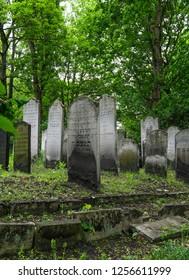 London UK, May 2018. Tombstones at the historic Jewish cemetery at Brady Street, Whitechapel, East London.