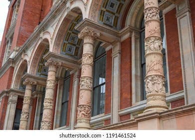 London, UK - May, 2018: Victoria and Albert Museum Henry Cole Wing details in South Kensington.