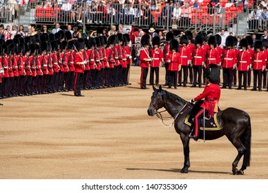 London UK, May 2019. Trooping the Colour, military ceremony at Horse Guards, Westminster with the Household Division in their bearskin hats and the King's Troop Royal Horse Artillery.