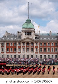 London UK, May 2019. Trooping the Colour, military ceremony at Horse Guards, Westminster with the Household Division in their bearskins, musicians from the massed bands and the Royal Horse Artillery.