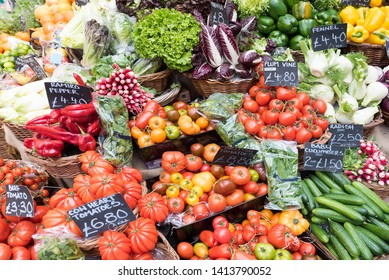 London, UK - May 2019. Vegetable stall in Borough Market, one of the largest and oldest food markets in London