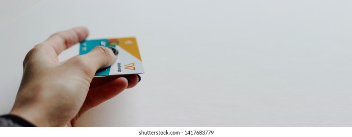 LONDON, UK, MAY 2019 WeSwap Borderless Account multi-currencies Mastercard debit card issued by the peer-to-peer money transfer service