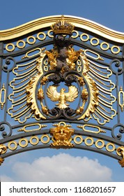 London, UK - May 21, 2010: Emblem in the lateral gate of Buckingham Palace in London, UK