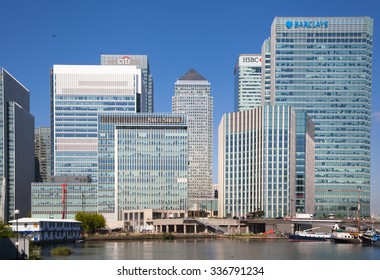 LONDON, UK - May 21, 2015: Canary Wharf business and banking district