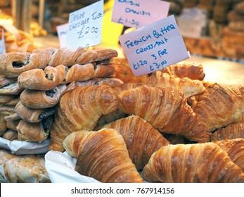 London, UK - May 21, 2016: croissant and pastry display at Portobello Market, London