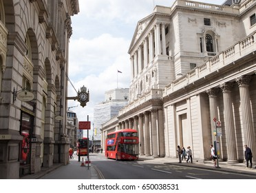 LONDON, UK - May 21, 2017: Bank of England.  The Bank of England on Threadneedle Street is the central bank of the United Kingdom