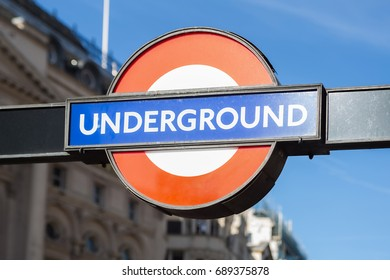 LONDON, UK - MAY 21, 2017: London Underground sign in Piccadilly Circus. London Underground is the oldest underground railway in the world.