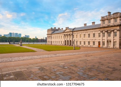 London, UK - May 21 2018: The Old Royal Naval College originally constructed to serve as the Royal Hospital ,built between 1696 and 1712. Between 1873 and 1998 it was the Royal Naval College