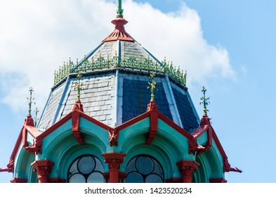 LONDON, UK - MAY 21, 2019 Original Abbey Mills Pumping Station, in Abbey Lane, London, is a sewage pumping station, designed by engineer Joseph Bazalgette, Edmund Cooper and architect Charles Driver.