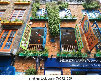 London, UK - May 22, 2016: Neal's Yard is a small colorful courtyard in Covent Garden, London