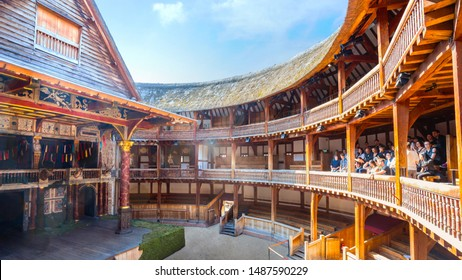 London, UK - May 22 2018: Shakespeare's Globe is a reconstruction of the Globe Theatre, associated with William Shakespeare, in the London Borough of Southwark. The original theatre was built in 1599