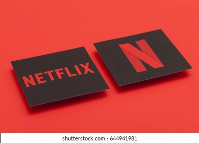 LONDON, UK - MAY 22nd 20167: Netflix logo on a red background. Netflix is a video on demand steaming service.