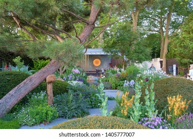 London, UK - May 22nd 2019: RHS Chelsea Flower Show, the Morgan Stanley Garden. A mixture of plants and architecture.