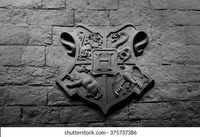 LONDON, THE UK - MAY 23, 2014: Photo of Hogwarts emblem in the Great Hall at Warner Brothers Studio Museum