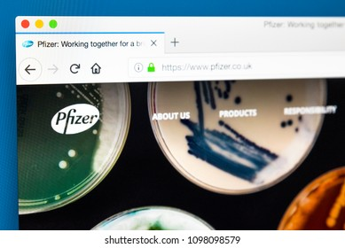 LONDON, UK - MAY 23RD 2018: The homepage of the official website for Pfizer - the American pharmaceutical conglomerate, on 23rd May 2018.