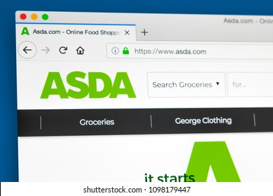 LONDON, UK - MAY 23RD 2018: The homepage of the official website for Asda - the British supermarket retailer, on 23rd May 2018.