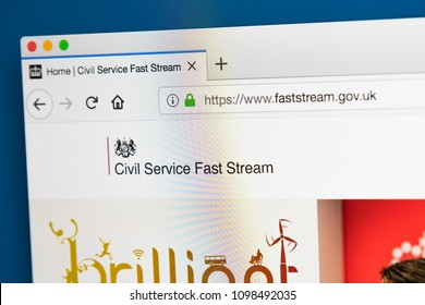 LONDON, UK - MAY 23RD 2018: The homepage of the official website for the Civil Service Fast Stream, on 23rd May 2018.