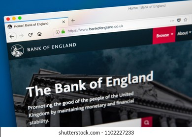 LONDON, UK - MAY 23RD 2018: The homepage of the official website for the Bank of England - the central bank of the United Kingdom, on 23rd May 2018.