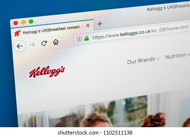 LONDON, UK - MAY 23RD 2018: The homepage of the official website for the Kellogg Company - the American multinational food-manufacturing company, on 23rd May 2018.