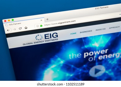 LONDON, UK - MAY 23RD 2018: The homepage of the official website for EIG Global Energy Partners, on 23rd May 2018.