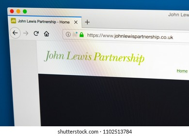 LONDON, UK - MAY 23RD 2018: The homepage of the official website for the John Lewis Partnership -  British company which operates John Lewis department stores, Waitrose supermarkets, on 23rd May 2018.
